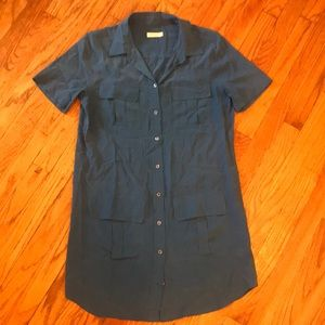 Equipment Dresses - Equipment 100% Silk Blue Shirtdress